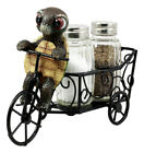 Cute Turtle Riding Tricycle Cart Figural Salt And Pepper Shakers Holder Kitchen