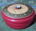 VINTAGE GLASS POWDER BOX FIRED ON ORANGE/RED DECO STYLE