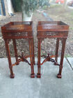 2 Antique Imported Hand Carved Punched Solid Wood Side Table Plant Stand Set 27