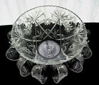 Anchor Hocking Glass Clear Early American Prescut Punch Bowl, Cups, 26 piece Set