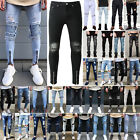 Men Ripped Jeans Super Skinny Slim Fit Denim Pants Destroyed Frayed Trousers 3XL