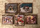 5 Wooden Handcrafted COUNTRY CHRISTMAS Ornaments Winter Hang Tags SET01