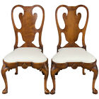 New Antique Style Pair of Queen Anne Burl Walnut Dining Room Chairs Carved Wood