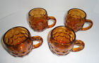 Vintage Set of 4 Amber Glass Thumbprint Handled Coffee Mugs Cups