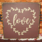 PRIMITIVE  COUNTRY  LOVE wreath mini  sq   SIGN
