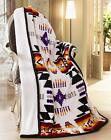 Navajo Print White Throw Blanket Sherpa Lined Southwest Native American Indian