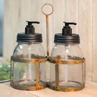 New Primitive Farmhouse Rustic MASON JAR SOAP LOTION Dispenser Holder Caddy Set