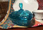 Vintage Hazel Atlas Covered Candy trinket dish turquoise Blue 1960's FREE SHIP!