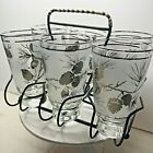 Vintage Libbey Glasses Tumblers Set of 6 With Carrier Silver Frosted Pinecones