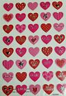 Valentines Stickers 40 Red Pink Silver Embellished Heart Stickers Scrapbook NEW