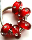 Wholesale Silver Lampwork Murano Glass Beads Fit European Charm Bracelet TF169