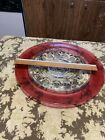 Indiana Glass Kings Crown Ruby Red Thumbprint Platter 135