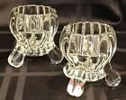 2 Jeannette Glass NATIONAL Clear Taper/Tealight Candle Holder 3-footed