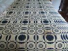Antique Woven Coverlet Navy Cream Snowflake Center Seam Mid 1800s Approx 72X70