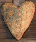 Primitive Quilt Heart Valentine Bowl Filler Cupboard Tuck Coffee Stained