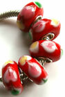 Wholesale Silver Lampwork Murano Glass Beads Fit European Charm Bracelet TF391
