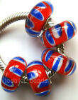 Wholesale Silver Lampwork Murano Glass Beads Fit European Charm Bracelet TF394