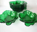 Vintage Forest Green Glass Maple Leaf Dishes Lot Of 7 Anchor Hocking Bowl Candy