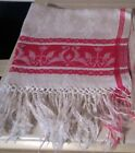 ANTIQUE RED AND WHITE DAMASK TOWEL~FRINGED ~ FLORAL ~ 18