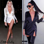 US Sexy Womens V-neck Bandage Bodycon Club Evening Party Short Mini Wrap Dress