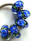 Wholesale Silver Lampwork Murano Glass Beads Fit European Charm Bracelet TJ037