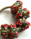 Wholesale Silver Lampwork Murano Glass Beads Fit European Charm Bracelet TJ058