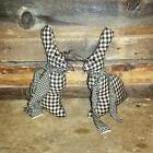 2 HAND MADE BLACK AND WHITE CHECKED EASTER BUNNIES DECORATION