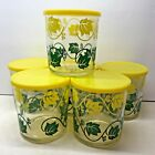 Vintage Hazel Atlas Sour Cream Jars Set of 6 Yellow Green Ivy With Original Lids