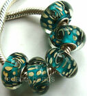 Wholesale Silver Lampwork Murano Glass Beads Fit European Charm Bracelet TJ074