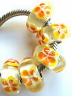 Wholesale Silver Lampwork Murano Glass Beads Fit European Charm Bracelet TJ100