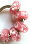Wholesale Silver Lampwork Murano Glass Beads Fit European Charm Bracelet TJ108