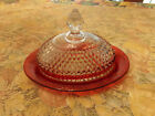 VINTAGE INDIANA RUBY RED FLASH DIAMOND OVAL COVERED BUTTER DISH great cond.