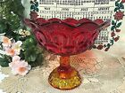 Large L. E. SMITH GLASS Amberina Moon and Stars Footed Compote Bowl/Candy Dish