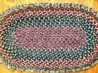 Antique Vintage Primitive Oval Hand Made Braided Rug Throw Navy Red 22
