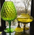 's Vintage Glass Goblet And candy Dish With Lid In Green Mid Modern