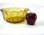Large Amber Glass Bowl Dish Serving Brown Gold 8.5