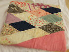 Vtg Antique 1930 FEEDSACK DISTRESSED PINK CUTTER Hand Made LAP Quilt PC 42x36