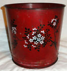 Antique Germany steel red Paint Stenciled white blossoms Trash can  Farm rustic