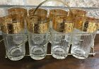 8 CULVER Hollywood Regency 22k Gold Band Etched TYROL Highball Glasses