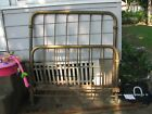 Antique Double Solid Brass Bed with original side rails and wheels