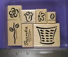 STAMPIN UP RUBBER STAMPS BASKET OF BLOSSOMS FLOWERS THANK YOU