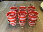 VINTAGE RED STRIPE TUMBLER SET IN TRAY