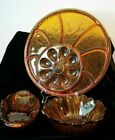 LOT 3 Indiana Amber Glass Egg Relish Plate Bowl Celery Dish Lily Pons