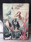 Antique Reproduction Primitive Mermaids w Pearls Print on Canvas Board 5x7