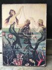 Antique Reproduction Primitive 3 Mermaids w Pearls Print on Canvas Board 5x7