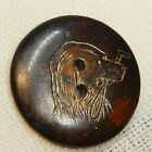 Antique Vtg BUTTON Hunting Dog Head with Whip INCISED Horn with Gold A12