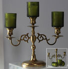 Vintage Brass 3 branches Candlestick Candle Holders with Green Glass 11 tall