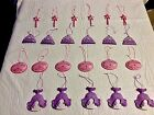 Set Of 24 Pink Purple Resin Princess Ornaments Christmas Decorations Gown Tiara