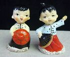 VINTAGE CERAMIC JAPANESE BOY AND GIRL SALT  PEPPER SHAKERS BY ENESCO RARE