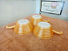 3 Vintage Fire King Lusterware Handled Soup Bowls Bee Hive
